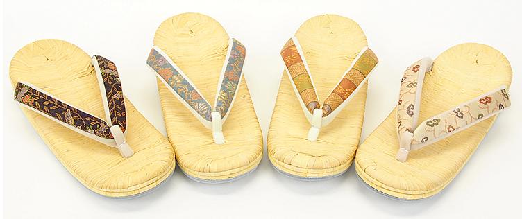 畳表茶竹草履5段重 手縫い (流水花 ・錦織花鳥・錦織浅黄・錦織朱段)
